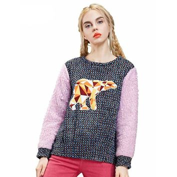 ELF SACK fashion brand new arrival winter women animal pattern applique color block sweatshirt school style