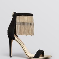 Via Spiga Open Toe Platform Evening Sandals - Tolsa Ankle Fringe High Heel