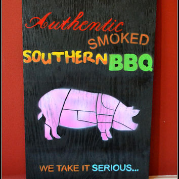 ON SALE Authentic Wood Sign, Wood Sign/BBQ Theme, Wood Sign/Pig, Wall Decor/Home Decor/Sign, Bbq Sign, Smoked Bbq