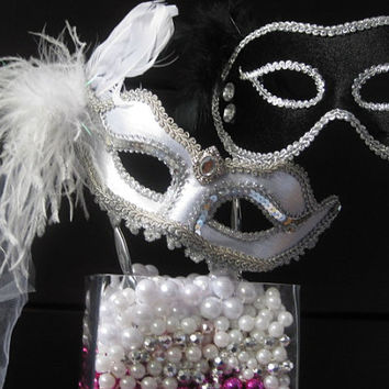 Bride and Groom WEDDING MASK Set- Mardi Gras- Masquerade Style- Elegant