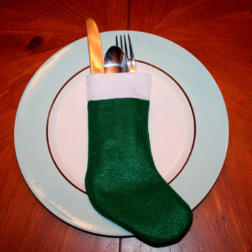 Christmas Stocking Silverware Holder - Dinner Setting - Decor