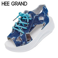 HEE GRAND Denim Wedges Sandals Lace-Up Creepers Summer Gladiator Sandal Platform Canvas Shoes Woman Peep Toe Women Shoe XWZ2680