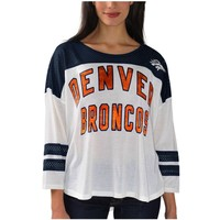 Women's Denver Broncos White Hail Mary 3/4 Sleeve T-Shirt