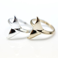 Cute Whale tail Adjustable Ring in gold silver