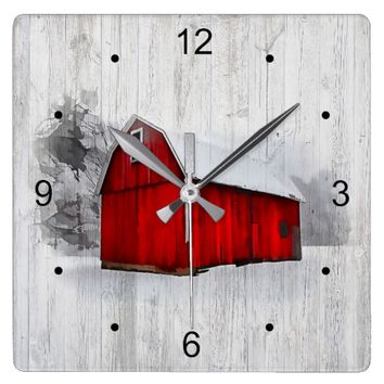 Rustic Red Barn Square Wall Clock