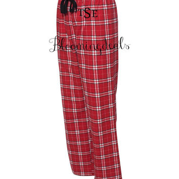 Monogrammed Red and White Flannel Pajama Pants Personalized Christmas Gift