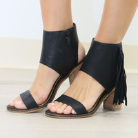 Very Volatile Vermont Black Fringe Ankle Cuff Stacked Heel Sandals
