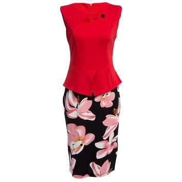 Vintage Round Collar Faux Twinset Floral Print Bodycon Dress for Women