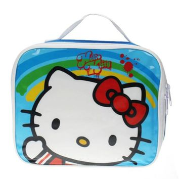 Cute Cartoon Hello Kitty Cat Lunch Bag for Kids Girls Children School Lunch Box Tote Bag Lunchbag Picnic Food Bags