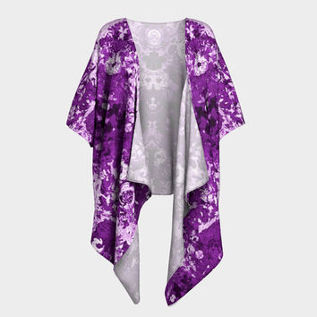 I Dream in Purple, Draped Kimono, Chiffon or Silky Knit, add Fringe,  Night Gown, Handmade Sexy Fashion Robe,  evening beach nightie,