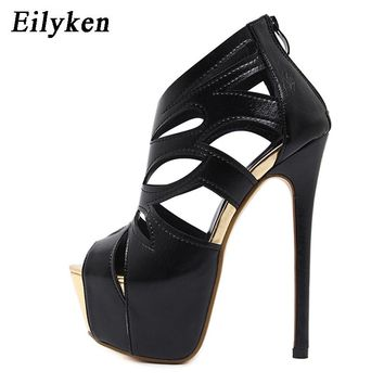 Eilyken Women Sandals Super High Heel Open The Toe Sandals Thick Heel Fashion Sexy High Heels Sandals Shoes Black