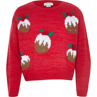 River Island Girls red christmas pudding sweater