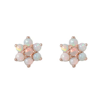 Opal Flower & 14K Solid Gold Rosebud Stud Earrings (Valentine's Day Gift Ideas) {Sold as Single or Pair w Push or Screw Back Style Backings}