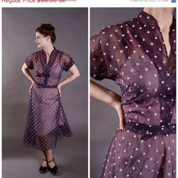 CHRISTMAS SALE - 1950s Vintage Dress - Sheer Purple Blue Dotted Day Dress - Sheer Bliss