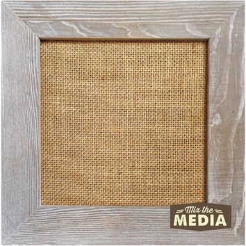 "Jillibean Soup Mix The Media Wood Framed Burlap-10""""X10"""" Weathered"