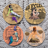 Mermaid News -- Eclectic Mermaid Altered Art Mousepad Coaster Set