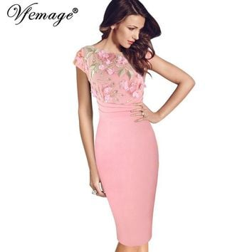 Vfemage Women Sexy Elegant Floral Applique embroidery Ruched Party Sheath Special Occasion Bridesmaid Mother of Bride Dress 3197