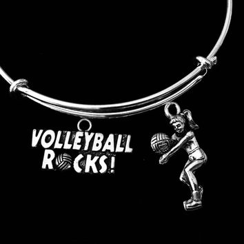 Volleyball Rocks Jewelry Adjustable Bracelet Silver Expandable Bangle Sports Team One Size Fits All Gift