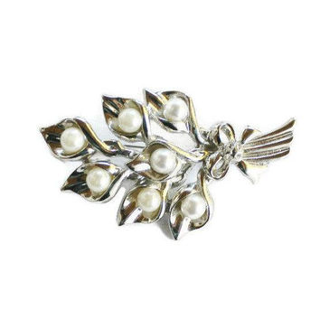 Lilly Bouquet Brooch Pin, Faux Pearls And Rhinestones Set In Silver Tone, Bridal Jewelry