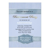 Light Blue Stripe Retirement Party Invitations