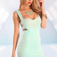 Mint Sweetheart Dress with Mesh Leopard Pint&Cutout Back