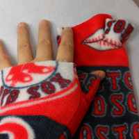 Boston Red Sox Fleece Fingerless Gloves, pick your size, with or without extended thumb