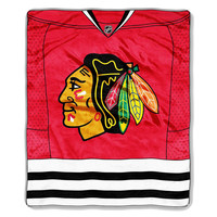 Chicago Blackhawks NHL Royal Plush Raschel Blanket (Jersey Series) (50x60)