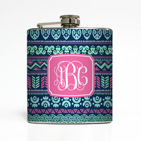 Custom Flask Personalized Tribal Aztec Vine Fancy Monogram Custom 21st Birthday Women Gifts Stainless Steel 6 oz Liquor Hip Flask LC-1421