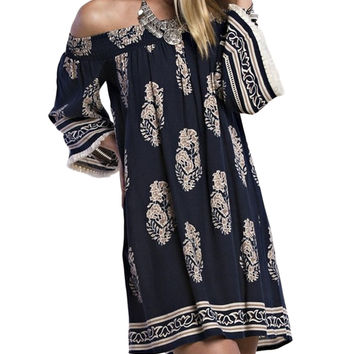 Brocade Print Off-the-Shoulder Dress