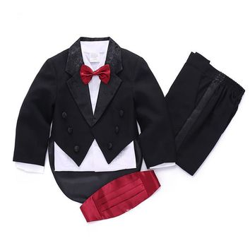 Kids/Children Black/White Formal Boys Wedding/Tuxedo Suits boy Blazer Suit Mariages/Perform Dress Costume Baby Boy Baptism Gown