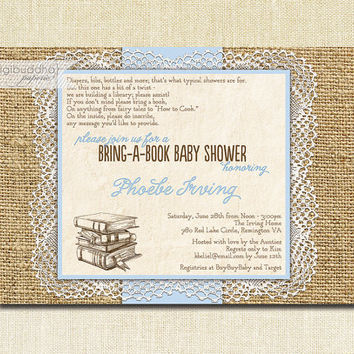 Lace Burlap Baby Shower Invitation Bring A Book Pastel Blue Rustic Shabby Chic Doily Country Storybook Printable or Printed - Phoebe Style