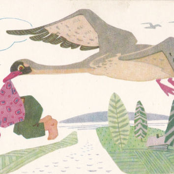 """Illustration by Afanasyev for Russian Folk Tale """"The Magic Wild Geese"""" - 1968, Soviet Artist"""