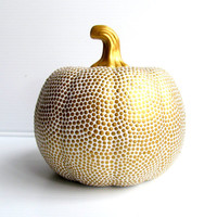 White and Gold hand painted ceramic pumpkin Gold on White