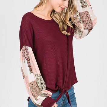 Boho Style Bishop Sleeve Top with Front Tie - Burgundy
