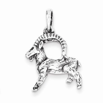 Sterling Silver Antiqued Capricorn Pendant