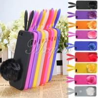 Cute Bunny Rabbit Ear Tail Silicone Cover Case Skin Stand For Apple iPhone 5 5th