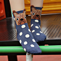 Cute Cartoon Spotted Dog Socks