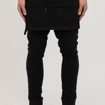TR053 Layered Joggers - Black