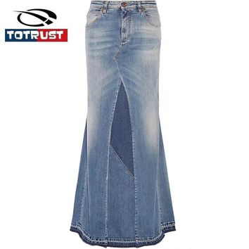 TOTRUST Sexy Denim Skirt Women 2017 Long Elegant Jean Patchwork High Waist Skirt Faldas Longa Casual Jeans Skirts Vintage Saia