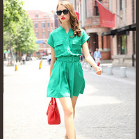 Short Sleeve Belted Blouson A-Line Pleated Mini Dress