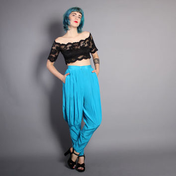 80s SILK Pleated TROUSERS / High Waist Avant Garde HAREM Pants, xs-s