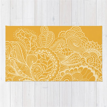 Marigold Area Rug Orange Yellow Gold Mehndi India Indian Design Pattern Boho Bohemian Shabby Chic Woven Rug Home Decor