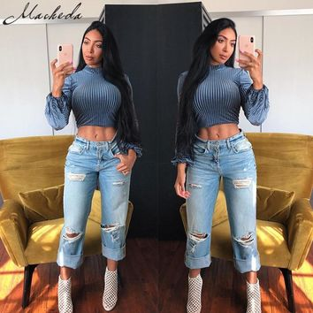 Macheda Womens Blue Tops Fashion 2018 New Turtleneck Long Sleeve Knitted T-shirt Casual Crop Tops Ladies Slim Solid Tee Top