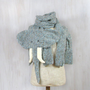 Warm crochet elephant shaped scarf, animal shawl, grey blue white, wool scarves, for animal lovers, funny soft, Christmas gift