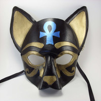 Egyptian Inspired Leather Cat Mask in Black, Gold and Metallic Blue