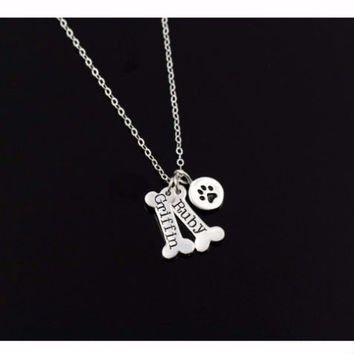 Silver Plated Personalized Dog Paw Pendant Necklace