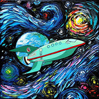 Futurama Inspired Art - Planet Express - Space Art - Starry Night - Print - van Gogh Never Had It Delivered Express - Art by Aja 24X24 inches