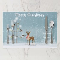 Christmas Deer And Trees Paper Placemat