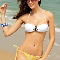 White Ruched Jewelled Bikini Top with Yellow Stripe Buttom
