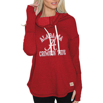 Alabama Crimson Tide Original Retro Brand Women's Triblend Funnel Neck Sweatshirt - Crimson